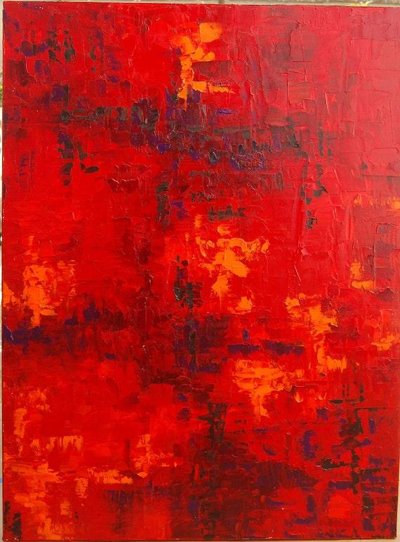 Abstract Painting Original Art Oil Extra Large Huge. Loft Art. Red Orange Oil Original Painting. Big, bright, one of a kind modern art