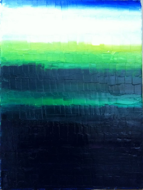 Abstract Contemporary Art Original Oil Painting 12x16x1.5 - deep dark blues, turquoise greens and sage greens.