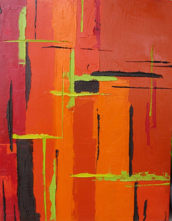 Modern Orange Abstract Painting, Abstract Art Original Painting Abstract Orange Red Black & Chartreuse Green Accents - 16x20 Contemporary