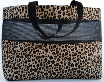 Medium Leopard Print Mesh Tote Bag