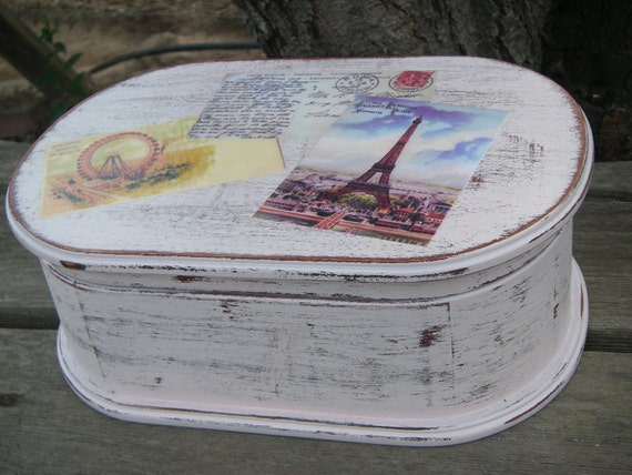 Jewelry Box White Eiffel Tower Box Floral Pink Shabby