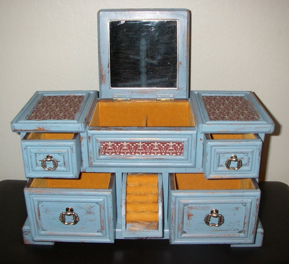 Jewelry Box Shabby Slate Blue Musical Love Story