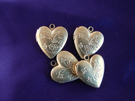 4 Brass Heart Shaped Lockets Charms