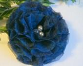 Blue Chiffon Flower Pin - Large