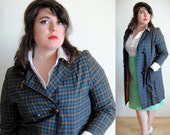 SALE Plus Size Jacket Vintage 1960s Brown and Blue Plaid Double Breasted // Spring Fashion Overcoat // Size 12