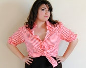 Plus Size Shirt 1960s Red Gingham Shirt Country Western Pin Up Girl // Lucky Lucy Spring Fashion // Size 1X 2X