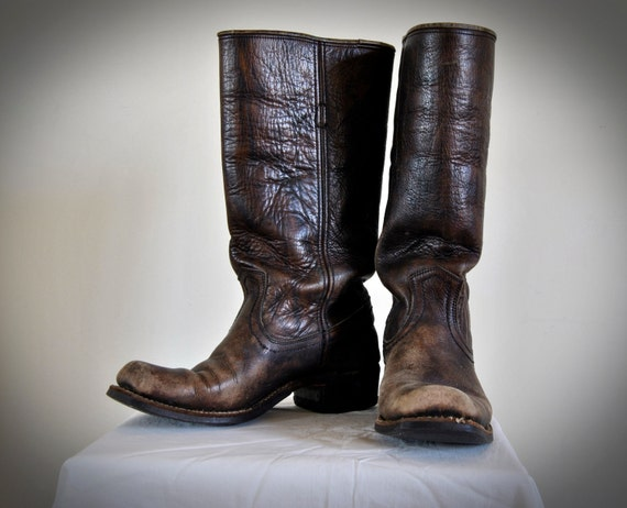 Vintage Boots Frye Campus Style Brown Distressed Leather // New Boot Goofin' // 8M womens 6.5 DD mens