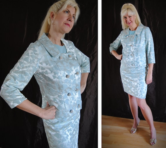 1960s Mad Men Blue Ivy Suit with Jeweled Buttons and Wiggle Dress // Iced Ivy // Small 6/8