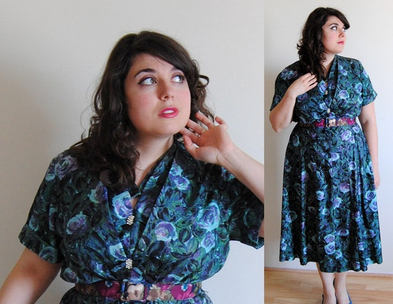 Plus Size Dress 1940's Deep Green and Purple Floral with Layered Bust and Rhinestone Buttons // Boardwalk Beauty Summer Fashion // Size 2X