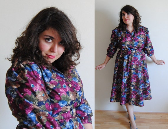 SALE Vintage Plus Size Floral Swing Dress with Belt // The 1980's does the 1950's Spring Fashion // Size 12/14 XL