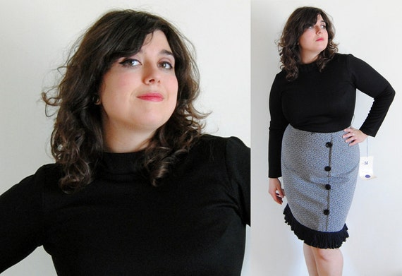 Vintage Plus Size 1960's Black and White Dress with Buttons and Black Fringe NWT // Hourglass Sass Spring Fashion // Size 12/14