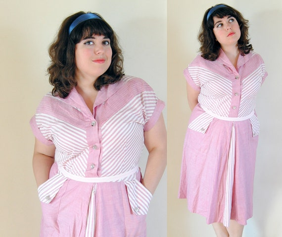 Plus Size Vintage Dress 1940's Pink Chevron Dress with Cyrstal Buttons // Pink Flamingo Summer Fashion // Size 16 XL
