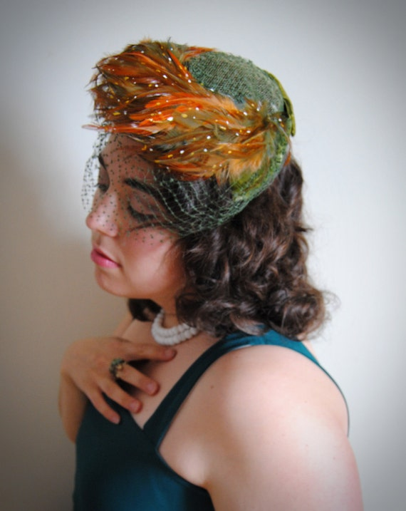 Vintage 1940s 1950s Green and Orange Feathered Hat with Net Veil // Bye Bye Birdie Summer Fashion