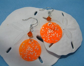 Orange Etched Shell Earrings