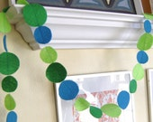 Soothing green and turquoise felt streamer/garland