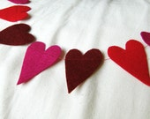 heart shaped red and pink  felt streamer/garland