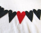 charcoal gray with one red heart felt streamer/garland