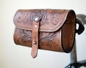 The Seeker - Hand tooled, Hand Sewn Veg Tan Leather Saddle Pouch