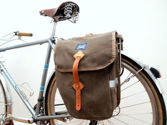 Deluxe Waxed City Panniers - Brown Waxed Canvas / Leather