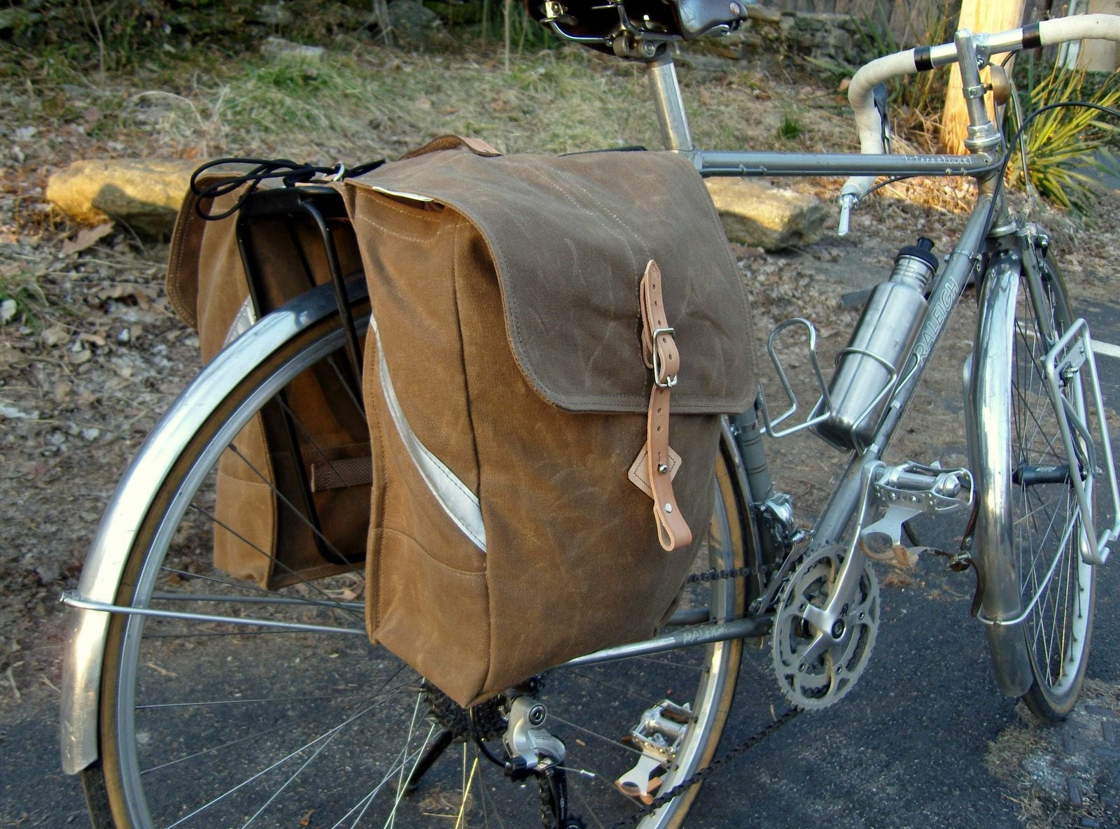 city waxed canvas roll up bicycle saddle bags panniers