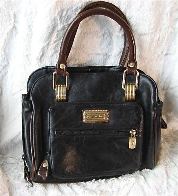 80 S Black Leather Capezio Handbag Purse