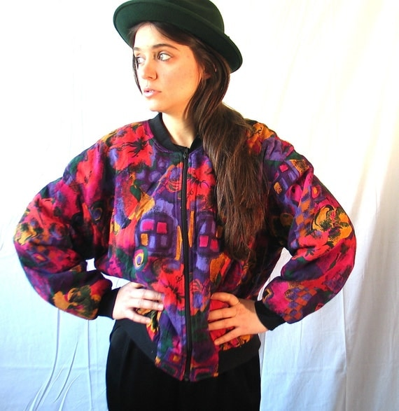 RESERVED for Aquillina Ndungwani  90's Floral Spring Bomber Jacket Medium
