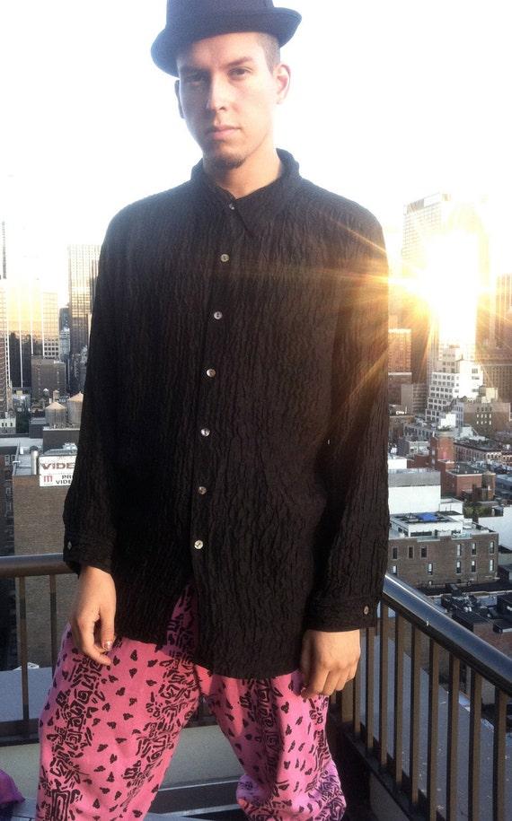 SALE 90s Unisex Black Textured Silk Blouse L/XL