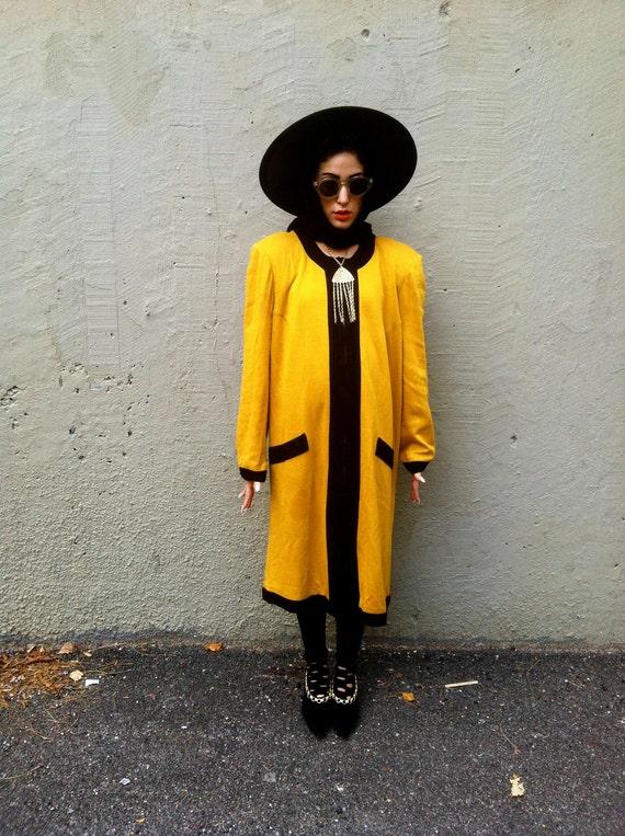 SALE 80's Yellow Avant Garde Dress Large