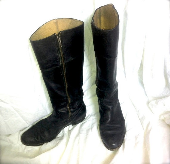 Vintage FRYE Black Leather Riding Boots Women 9 1/2 EURO 41
