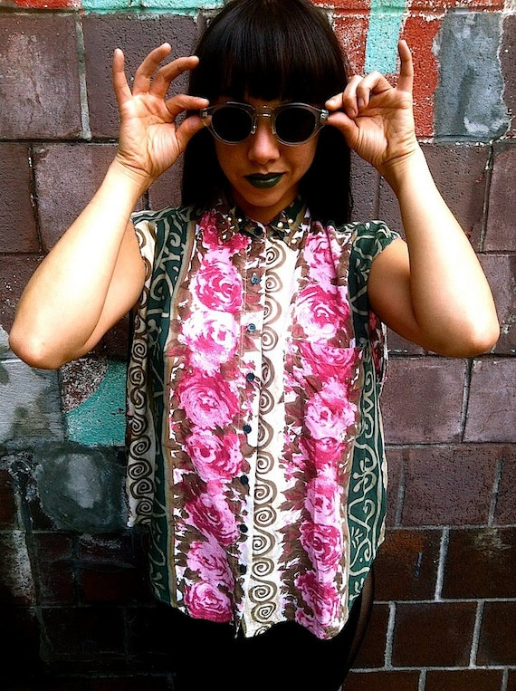 90s Unisex Upcycled Floral studded Blouse M/L