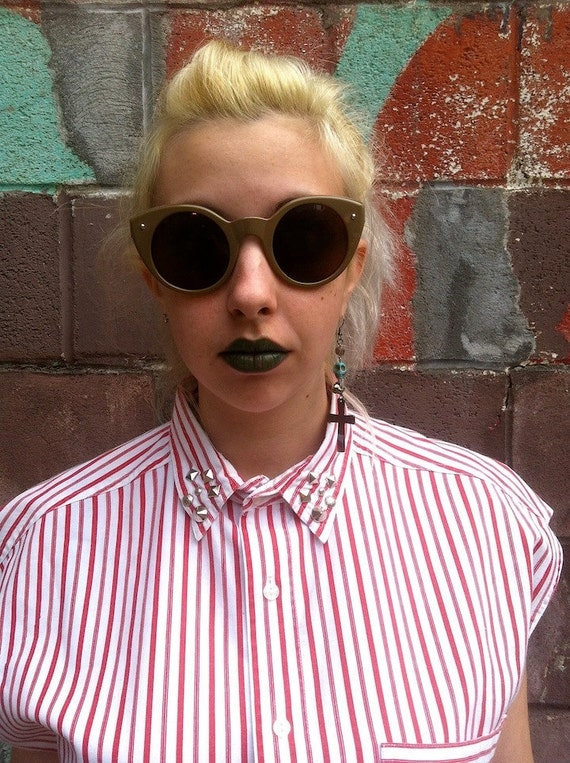 SALE 90's Unisex  Gitano Stripe Blouse with Studded Collar M/L