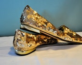Vintage Gold sequined party shoes sz. 8.5