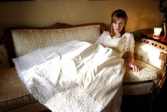 RESERVED for Lori SALE Vintage handwoven silk couture Champagne Wedding dress