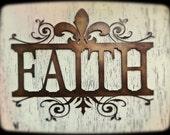 Wall Decor, Metal, Faith,  Shabby Chic, Fleur De Lis, Scroll, Swirl, Decoration, Ornamental, House Warming, New Home, Idea