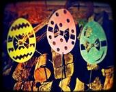 Spring Decor, Easter, Eggs, Pastel, Garden Stakes, Set of Three, Yard Stakes, Glitter, Sparkling