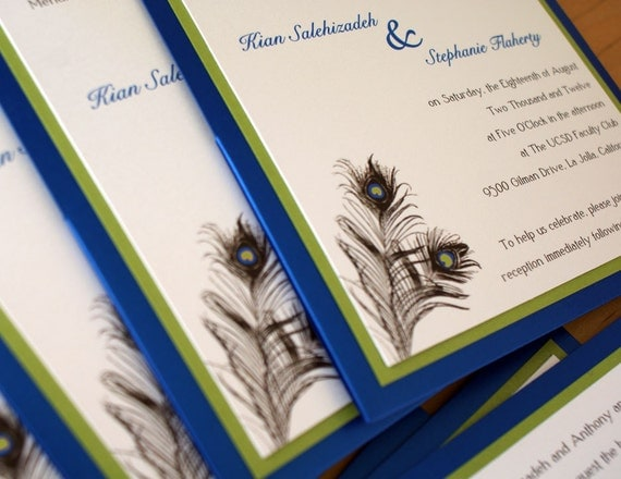 Peacock Blue-Green Wedding Invitation