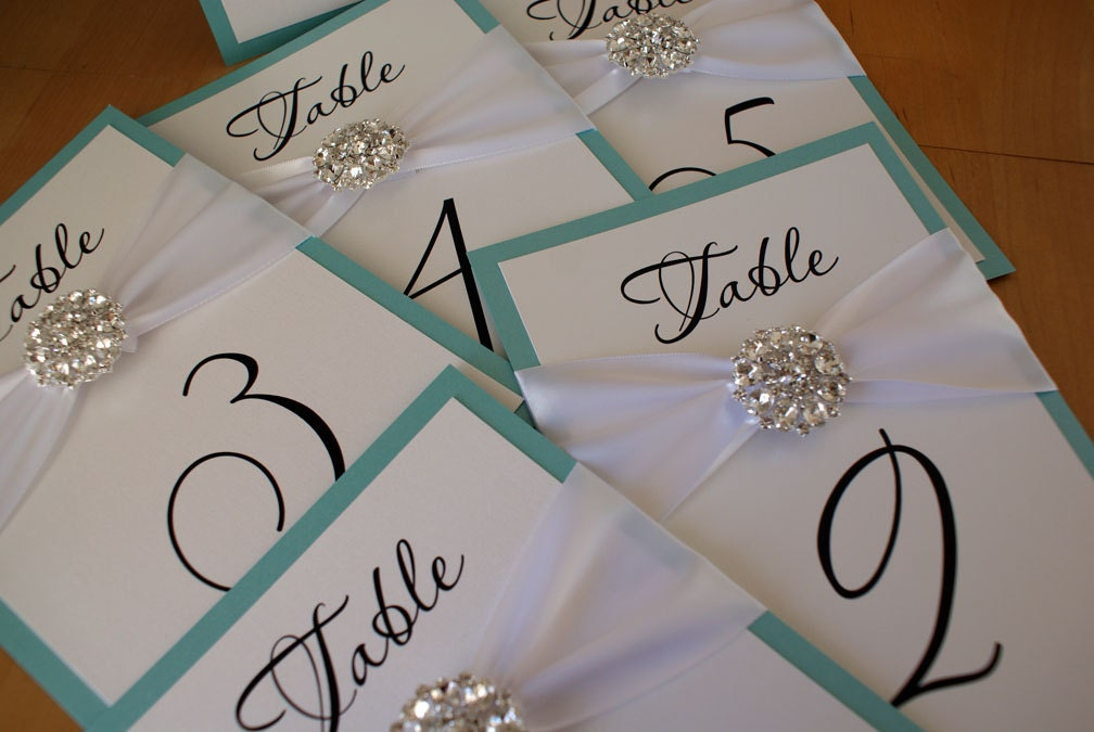 Crystal wedding table number cards for Table numbers