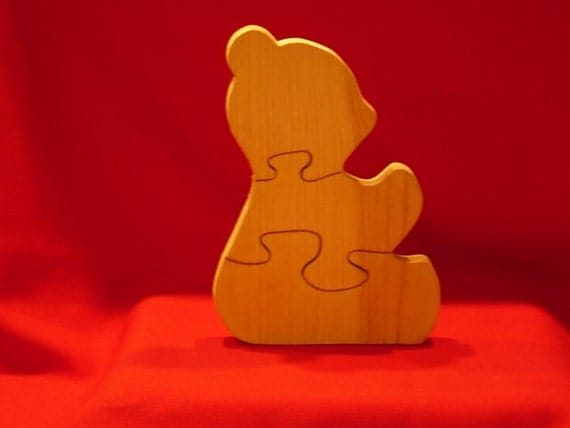 Unfinished Wood Teddy Bear Puzzle for Paint or Stain or Use Just the way it is.