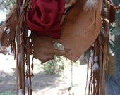 showdiva designs Special Order Purse ObLoNg Distressed Medicine Bag Necklace Belt LoNg FriNgE Feathers and Hand Sculpted Flower