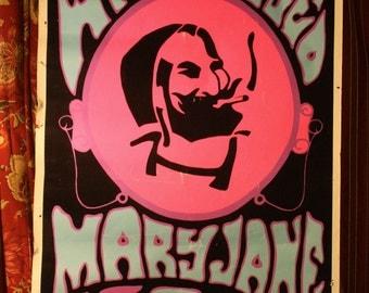 Vintage ORIGINAL Hippie Days Black Light Felt POSTER Zig Zag Man Mary Jane