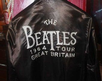 SOLD Rare The Beatles 1964 Tour Satin Bomber Jacket with Embroidered Lettering