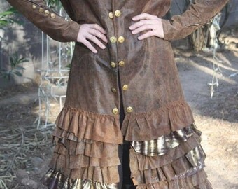 showdiva designs STUNNING Below Knee Brown Distressed Leather Military Coat  Asymmetrical Ruffles Hints of Gold