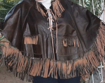 Vintage Hippie Brown Leather Poncho Cape with Fringe Fringe and More Fringe