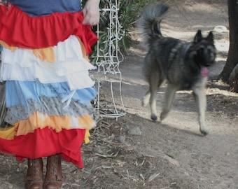 showdiva designs Tattered Tshirt Maxi Dress Asymmetrical Ruffles Galore Hippie Bohemian Chic