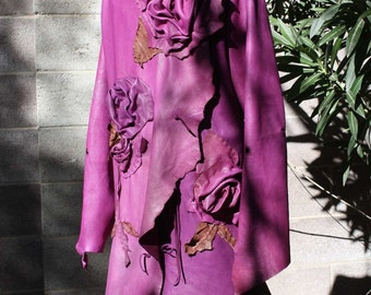 showdiva designs Made to Order Asymmetrical Leather Coat with Vines of  Hand Sculpted Flowers