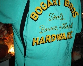 Vintage Nat Nast Bowling Shirt BOGART BROS HARDWARE Rockabilly Incredible Collectible Heavy Embroidery