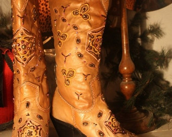 Pink n Copper Beaded Cowboy Boots Knee High Stun Guns Faux Leather