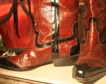 CRAZY SaLe Boots AND Purse! Donald Pliner Cowboy Boots AND Matching Purse Rich Tooled Leather