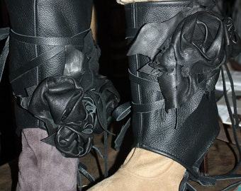 Showdiva designs Black Leather Bootie Spats with 3 Sculpted Roses Mid Calve Boots to Flip Flop Toppers