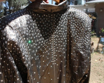 Vintage Leather Jacket OVER a THOUSAND Crystal Rhinestones the Most Bling EVER Sparkle Sparkle Sparkle